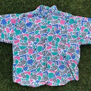 Vintage All over print shapes XL Button Up Shirt